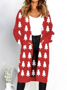 Red White Floral Pockets V-neck Casual Cardigan Sweater