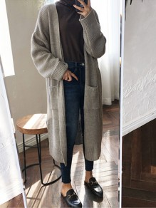 Grey Pockets V-neck Long Sleeve Oversized Casual Cardigan Sweater