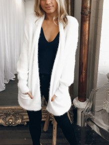 White Pockets Long Sleeve Casual Cardigan Sweater