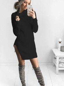 Black Irregular Polo Neck Long Sleeve Casual Cardigan Sweater