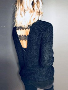 Black Patchwork Lace Backless V-neck Long Sleeve Pullover Sweater