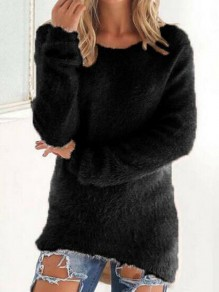 Black Round Neck Long Sleeve Going out Pullover Sweater