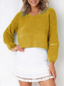 Yellow Zipper V-neck Long Sleeve Going out Pullover Sweater