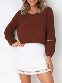 Dark Red Zipper V-neck Long Sleeve Going out Pullover Sweater