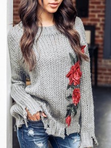 Grey Flowers Embroidery Round Neck Long Sleeve Going out Pullover Sweater