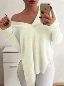 White Plain V-neck Long Sleeve Going out Pullover Sweater