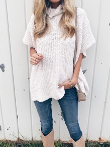 White High Neck Short Sleeve Fashion Pullover Sweater