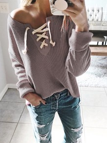 Grey Drawstring Asymmetric Shoulder Long Sleeve Casual Pullover Sweater