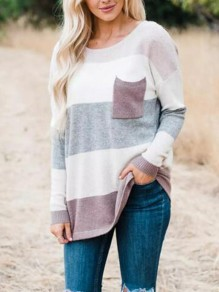 Coffee Striped Pockets Round Neck Long Sleeve Oversized Casual Pullover Sweater