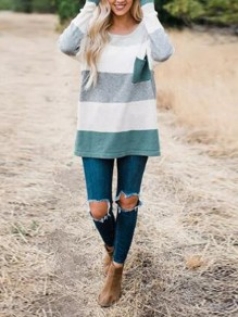 Green Striped Pockets Round Neck Long Sleeve Oversized Casual Pullover Sweater