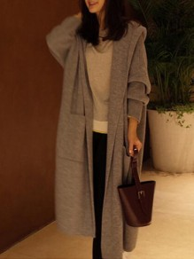 Grey Pockets Cut Out Hooded Long Sleeve Casual Cardigan