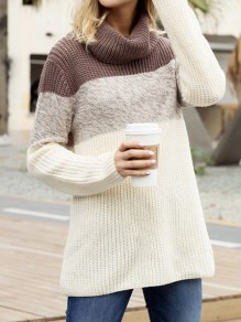 Coffee White Patchwork Cowl Neck Long Sleeve Casual Pullover Sweater