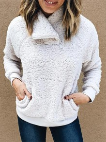 White Patchwork Zipper Pockets Long Sleeve Casual Pullover Sweater