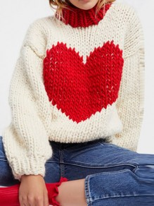 Apricot Love Print Round Neck Long Sleeve Going out Pullover Sweater