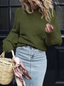 Green Round Neck Long Sleeve Casual Pullover Sweater