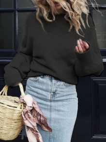Black Round Neck Long Sleeve Casual Pullover Sweater