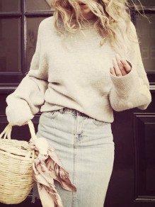 Beige Round Neck Long Sleeve Casual Pullover Sweater