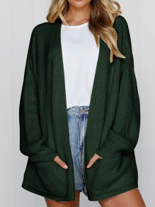 Green Pockets Long Sleeve Oversize Casual Cardigan Sweater