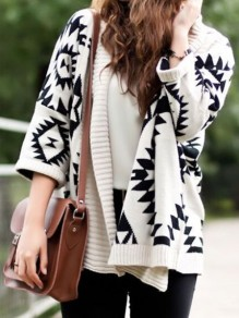 White Geometric Print V-neck Fashion Cardigan Sweater