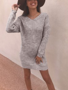 Grey Backless Print Round Neck Long Sleeve Fashion Pullover Sweater