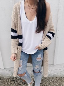 Apricot Striped Pockets Cut Out Side Slit V-neck Long Sleeve Casual Cardigan