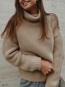 Khaki Patchwork High Neck Casual Pullover Sweater
