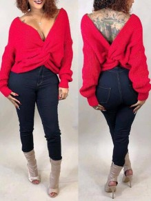 Red Pleated Irregular Deep V-neck Off Shoulder Backless Casual Pullover Sweater