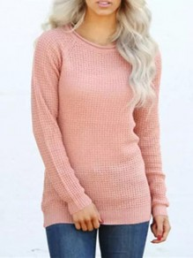 Pink Round Neck Long Sleeve Oversize Casual Pullover Sweater