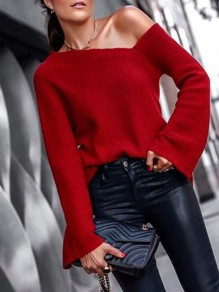 Red Irregular One Shoulder Flare Sleeve Oversized Casual Pullover Sweater