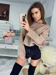 Khaki Cut Out High Neck Long Sleeve Casual Sweater