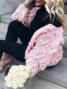 Pink Love Round Neck Long Sleeve Going out Cardigan Sweater