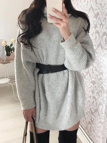 Light Grey High Neck Long Sleeve Casual Pullover Sweater