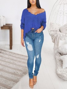 Blue Patchwork Tassel Irregular One Shoulder Unique Cut Up Oversized Casual Pullover Sweater