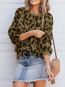 Army Green Leopard Print Round Neck Lantern Sleeve Casual Pullover Sweater