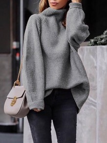 Grey High Neck Long Sleeve Pullover Sweater