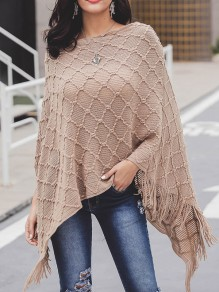 Khaki Tassel Irregular Long Sleeve Casual Cape Pullover Sweater