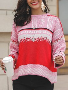 Red Patchwork Print Round Neck Casual Pullover Sweater