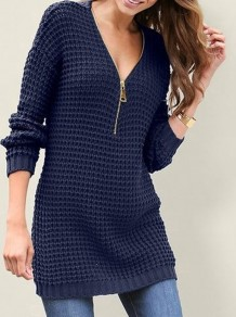 Blue Zipper V-neck Long Sleeve Casual Pullover Sweater