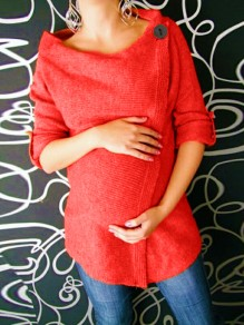 Red Buttons Irregular Round Neck Long Sleeve Casual Maternity Pullover Sweater