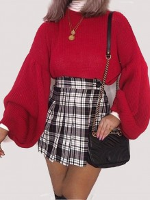 Red Round Neck Lantern Sleeve Fashion Oversize Pullover Sweater