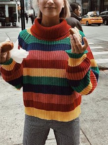 Multicolor Rainbow Striped Band Collar Oversize Honey Girl Knitwear Jumper Pullover Sweater