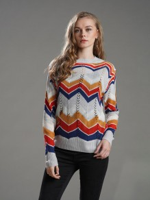 """Grey""""Rainbow""""Striped Cut Out Long Sleeve Round Neck Fashion Pullover Sweater"""