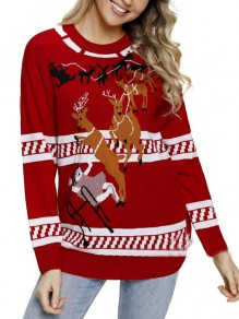 Red Elk Pattern Long Sleeve Casual Cute Ugly Christmas Pullover Sweater
