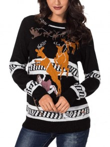 Black Elk Pattern Long Sleeve Christmas Casual Pullover Sweater