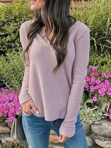 Pink V-neck Long Sleeve Fashion Oversize Pullover Sweater