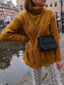 Yellow Knitwear High Neck Long Sleeve Oversize Pullover Sweater