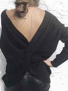 Black Irregular Cross Back Backless Cut Out V-neck Long Sleeve Casual Sweater