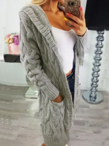 Grey Pockets Hooded Long Sleeve Oversize Cardigan Sweater