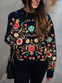 Black Flowers Print Embroidery Mexican Round Neck Long Sleeve Casual Pullover Sweater
