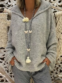 Grey Hooded Long Sleeve Oversize Fashion Pullover Sweater